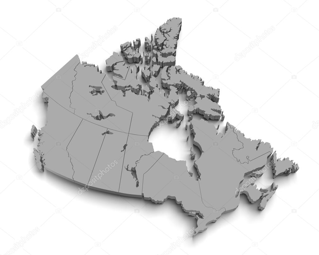 Map Of Canada 3d.3d Canada Map On White Stock Photo C Yermek 24381439