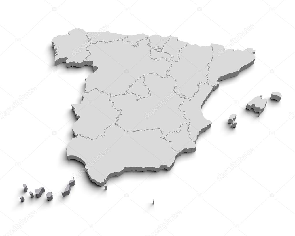 3d Map Of Spain.3d Spain White Map Stock Photo C Yermek 24415823