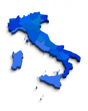 3D blue map of Italy