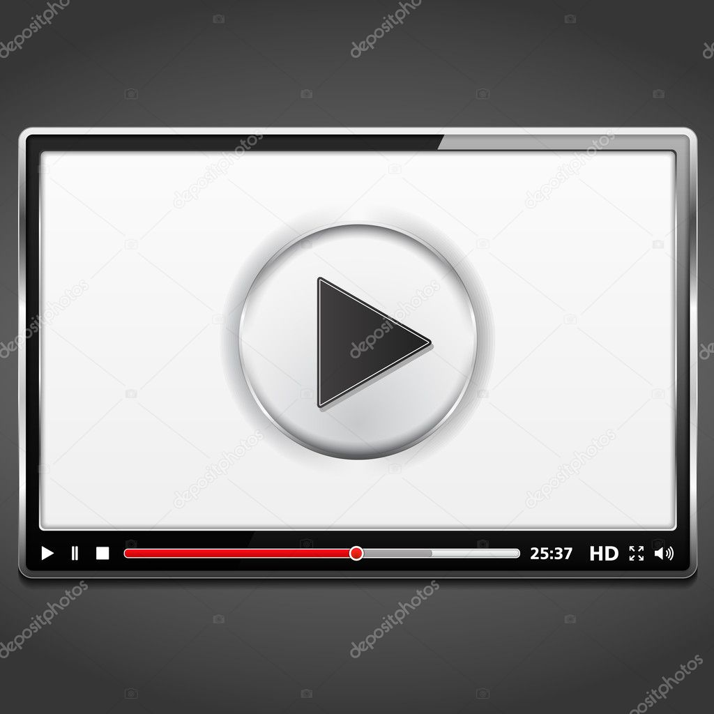 Black video player template with metallic frame, vector eps10 illustration stock vector