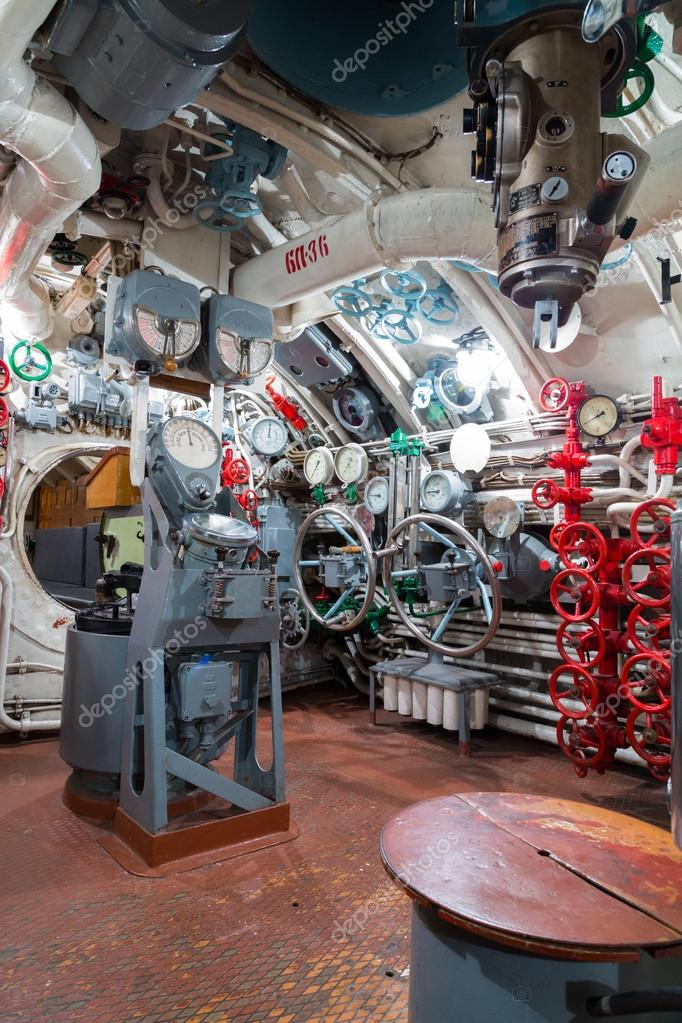Russian memorial submarine S-56. Сontroll room.