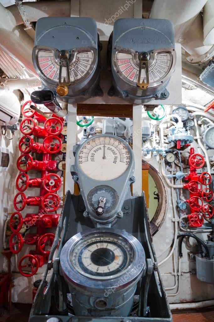 Russian memorial submarine S-56. Сontroll room.