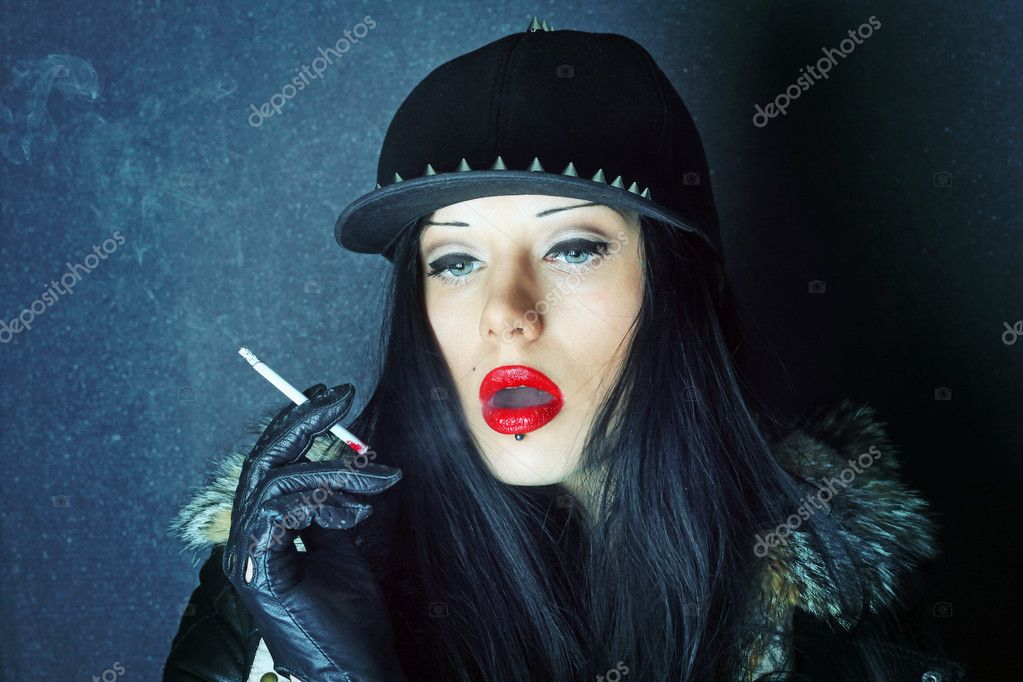 Red lipstick. Cigarette smoke. Girl smokes. — Stock Photo ...