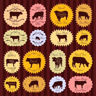 Beef and milk cattle farmers market food labels illustration col