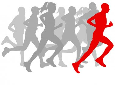Winner finish vector background and group of runners