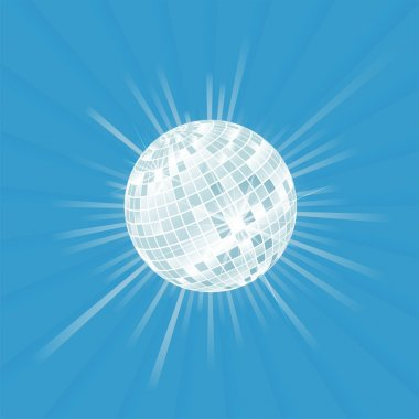 Disco ball vector background with burst light