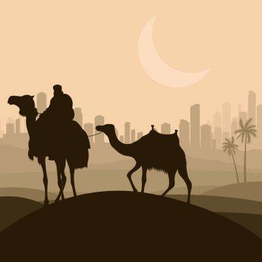 Camel caravan in arabic skyscraper city landscape illustration b