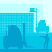 Photo Fork lift truck with load vector background