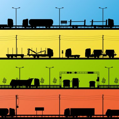 Highway roadway landscape and heavy duty trucks detailed silhoue