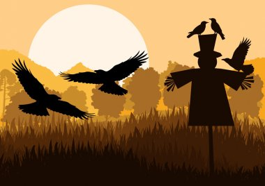 Scarecrow with flying crows in autumn countryside field landscap