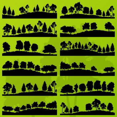 Forest trees silhouettes landscape background vector