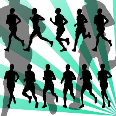 Marathon runners detailed active background vector