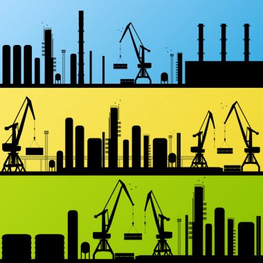Oil refinery station background vector
