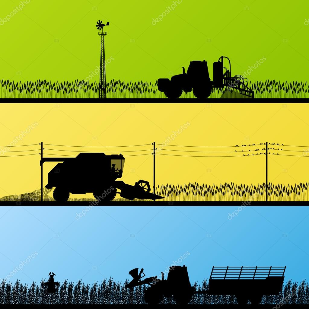 Agriculture tractors and harvesters in cultivated country fields
