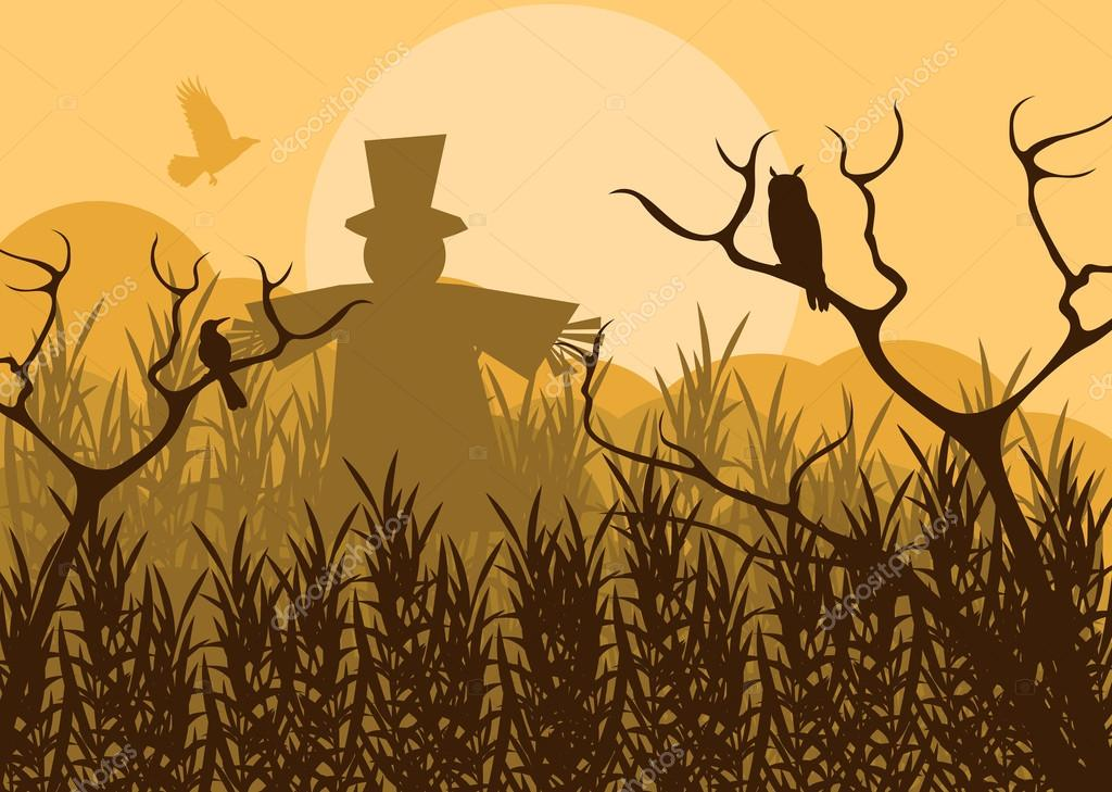 Halloween background vector with owl and pumpkin guy