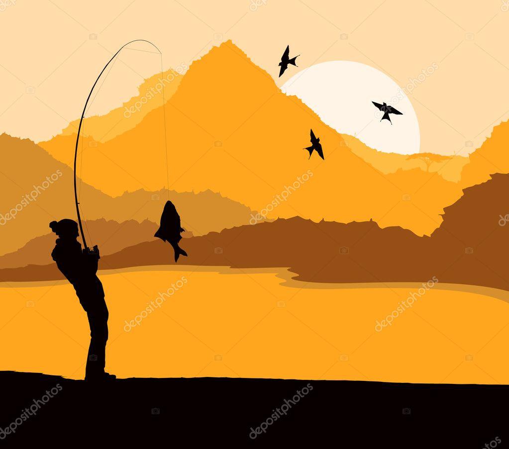 Fisherman landscape vector background