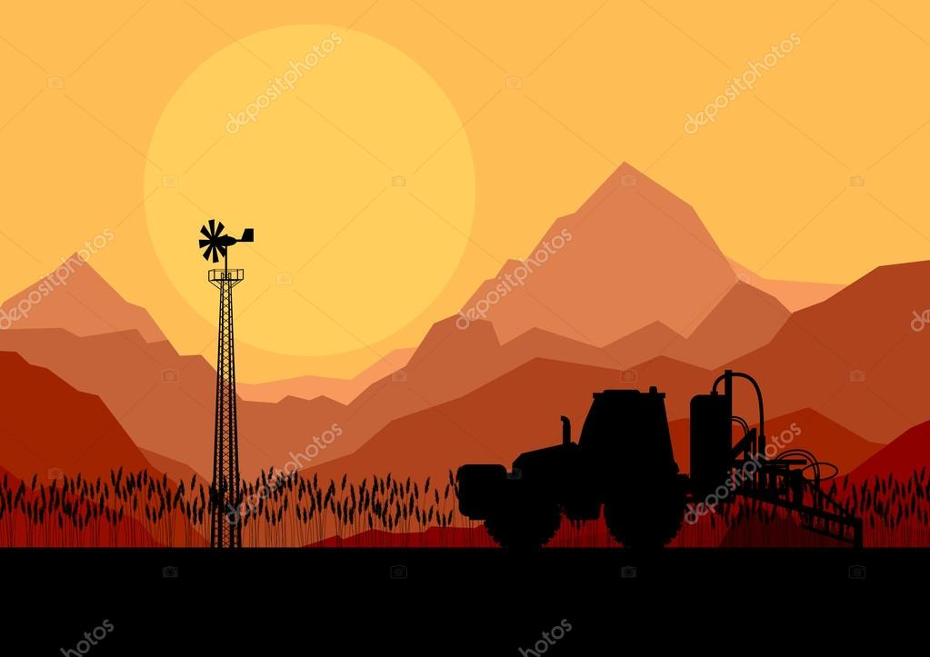 Tractor spraying a field vector background