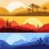 沙漠野生自然风景与仙人掌和棕榈树植物