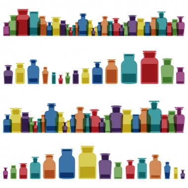 Vintage old glass jars, bottles and medicine chemistry potionsl