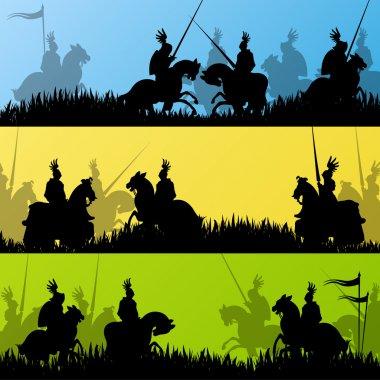 Medieval knight horseman silhouettes riding in battle field warf