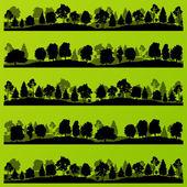 lesní stromy siluety šířku obrázku sada