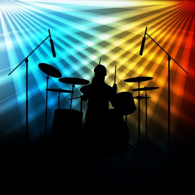 Rock band vector background with neon lights