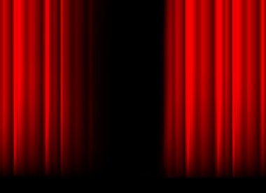 Red stage curtain with light, shadow and black space