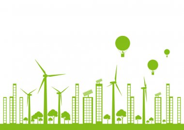 Green ecology city landscape vector background