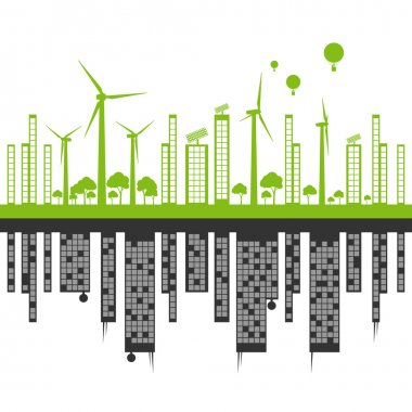Green ecology city landscape against pollution vector background
