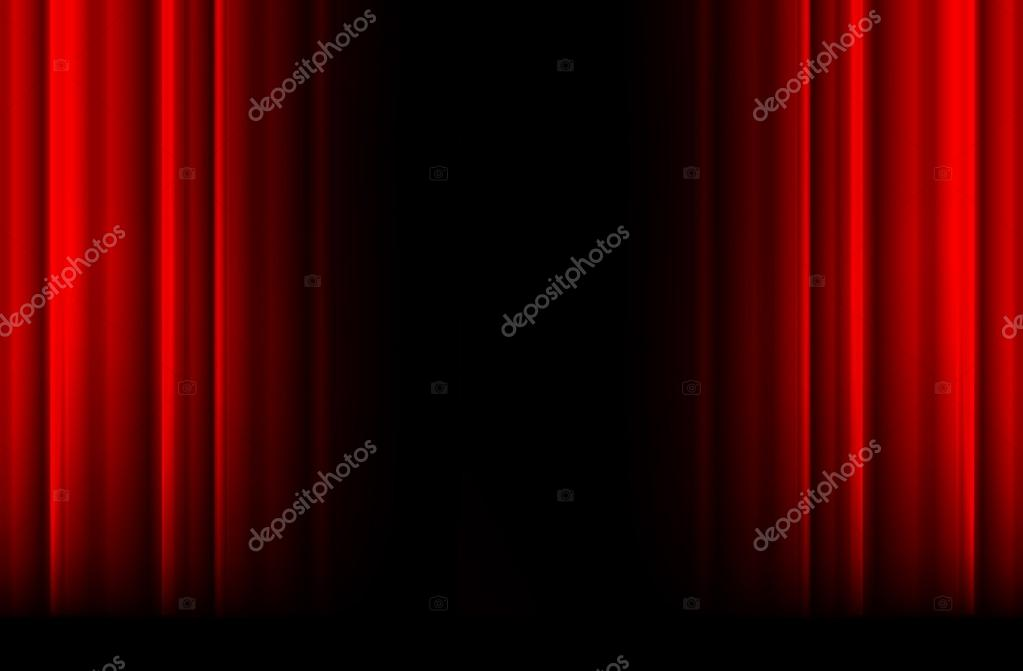 Red Stage Curtain With Light Shadow And Black Space Vetor De Stock