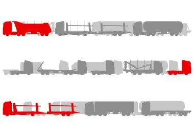 Highway roadway landscape and fast heavy duty trucks logistics d