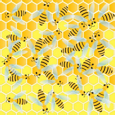 Bees and honeycomb wax cell vector background