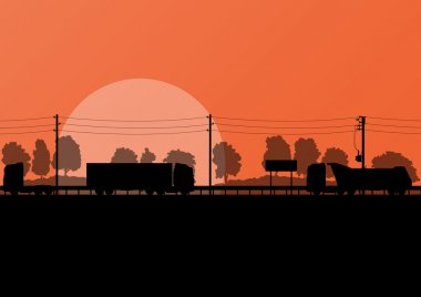 Highway roadway landscape and heavy duty trucks in detailed fore