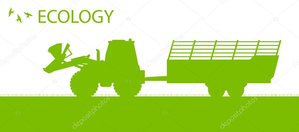 Ecology background organic farming vector concept with tractor