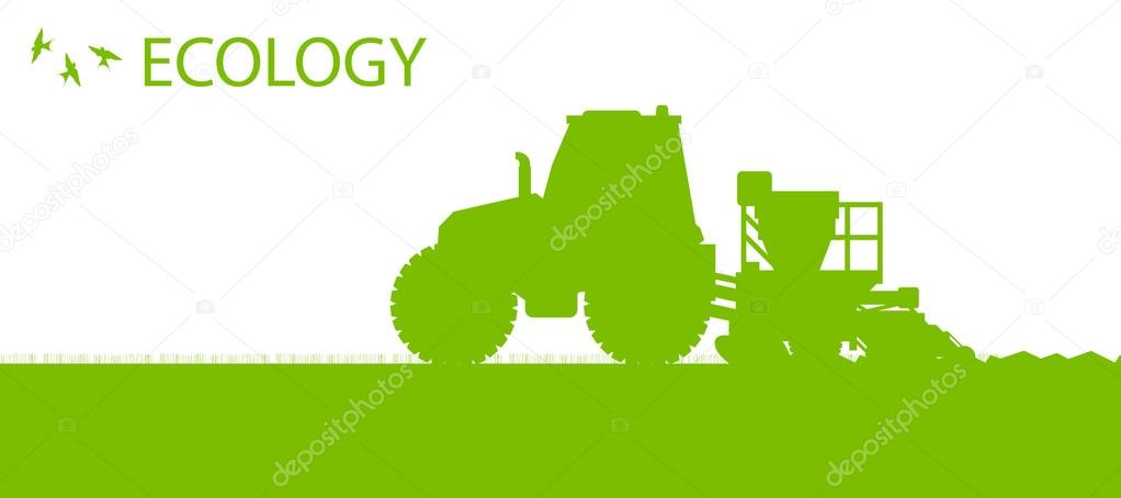 Ecology background organic farming vector concept with tractor a
