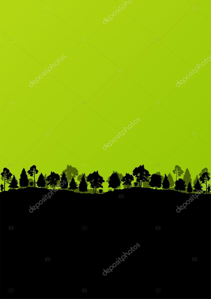 Wild mountain forest nature landscape scene background illustrat