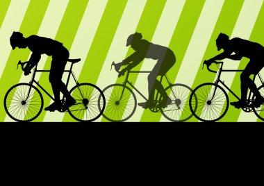 Sport road bike riders bicycle silhouettes in highway road backg