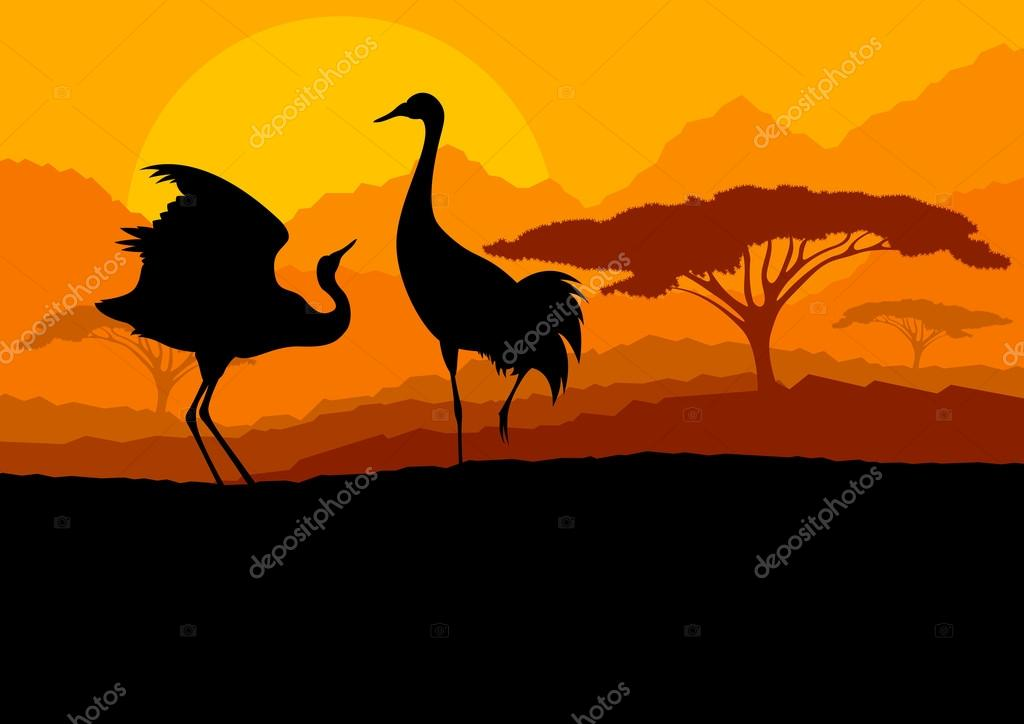 Crane couple in wild mountain nature landscape background illust