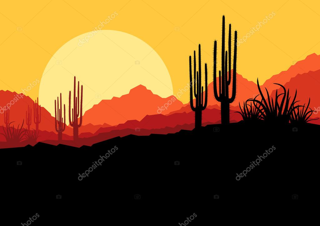Desert wild nature landscape with cactus and palm tree plants il