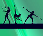 Fotografie Rhythmic Gymnastics woman with clubs vector background