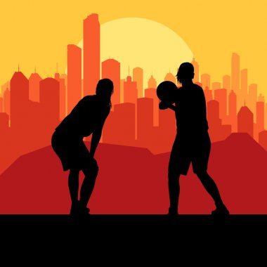 Men basketball in front of city sunset vector background for pos