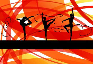 Young women doing calisthenics art gymnastics sport tricks with