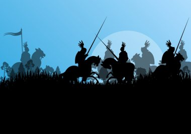 Medieval knight horseman silhouettes riding in battle field warf