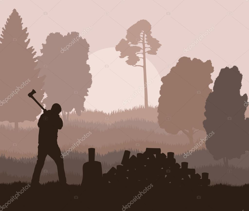 Lumberjack with axe vector background in nature