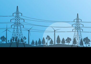 Power high voltage electricity tower line in countryside forest