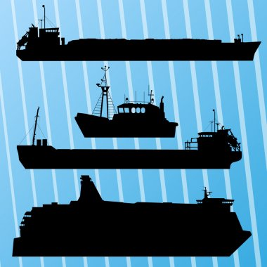 Freight ship, fishing boat and travel ferry boat set silhouettes