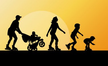 Family in roller skates vector background concept