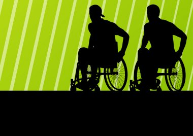 Active disabled man on a wheelchair detailed sport concept silho