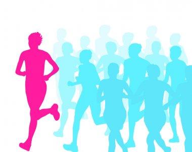 Women marathon winner finish vector background and group of runn