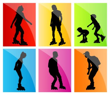 Roller skating, in line skaters vector background set with man,